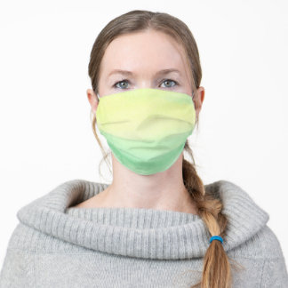 Yellow Green Simple Watercolor Adult Cloth Face Mask