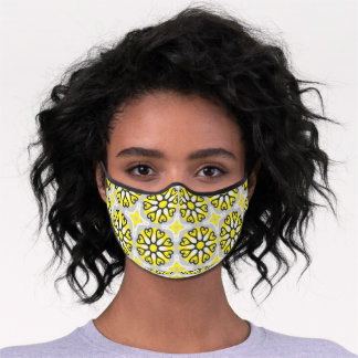 Yellow Grey White Mosaic Floral Geometric Pattern Premium Face Mask