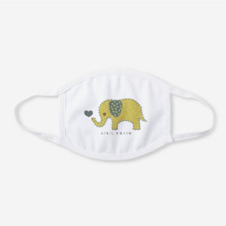 YELLOW KIDS FELT PATCHWORK BABY ELEPHANT HEART WHITE COTTON FACE MASK