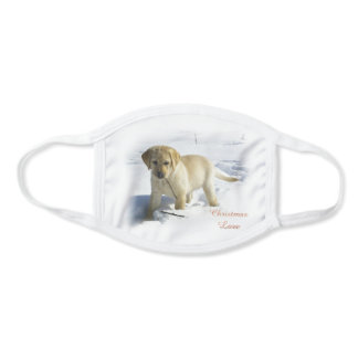 Yellow Lab Puppy Christmas Face Mask