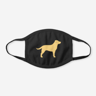 Yellow Labrador Retriever Dog Breed Silhouette Black Cotton Face Mask