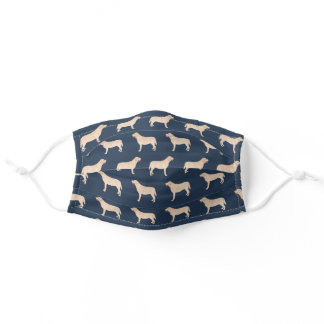 Yellow Labradors navy blue Adult Cloth Face Mask