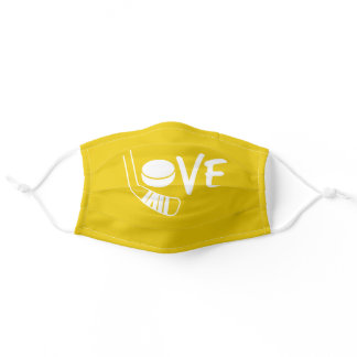 Yellow Love Hockey Face Mask with stick and puck