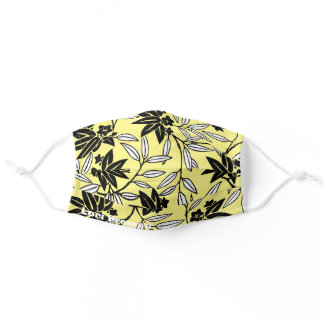 Yellow Name Japanese Kimono Print Flower Adult Cloth Face Mask