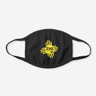 Yellow NM Zia Heart with Initials Black Cotton Face Mask