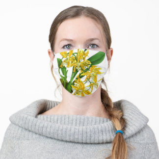 Yellow Orchid Floral Adult Cloth Face Mask