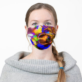 Yellow Ornament Ball, Colorful Lights Adult Cloth Face Mask