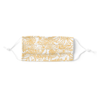 Yellow paisley style wildflower pattern adult cloth face mask