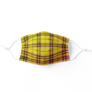 Yellow Plaid Pattern Adult Cloth Face Mask