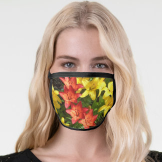 Yellow & Red Lily Photo Designed Face Mask