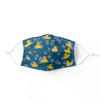 Yellow rubber ducks in bubbles adult cloth face mask