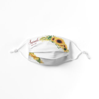 Yellow Sunflower Flower Girl Name & Summer Wedding Kids' Cloth Face Mask