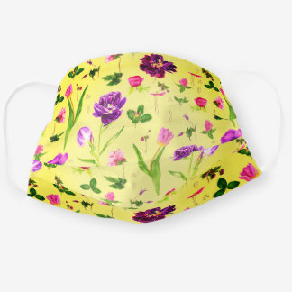 Yellow Tulips Watercolor Pretty Pattern Cloth Face Mask