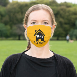 yellow warning sign home quarantine stay home adult cloth face mask