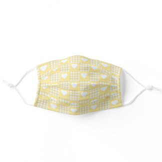 Yellow White Checkered Plaid Tartan with Hearts Adult Cloth Face Mask
