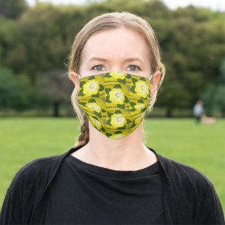Yellow White Floral Pattern Designer Crochet Print Adult Cloth Face Mask