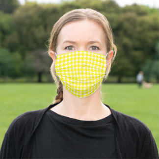 Yellow White Houndstooth Pattern Social Distancing Adult Cloth Face Mask