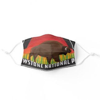 Yellowstone National Park Bison Wyoming Montana Adult Cloth Face Mask