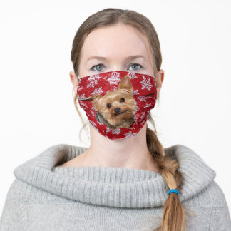 Yorkie Christmas Adult Cloth Face Mask