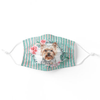 Yorkie yorkshire terrier pet dog watercolor rose adult cloth face mask