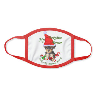 Yorkshire Terrier Christmas Face Mask