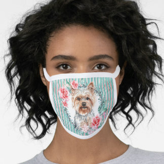Yorkshire terrier yorkie pet dog watercolor rose face mask