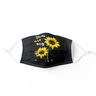 You Are My Sunshine on Black Adult Cloth Face Mask
