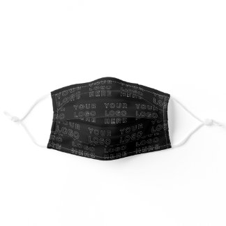 Your business logo pattern on black adult cloth face mask