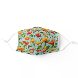 Your Color Summer Garden Red & Gold Poppies Floral Adult Cloth Face Mask