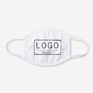 Your company logo white cotton face mask