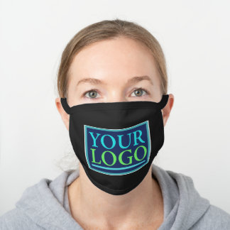 Your Logo/Art/Photo, Business Name Promo, DIY Black Cotton Face Mask