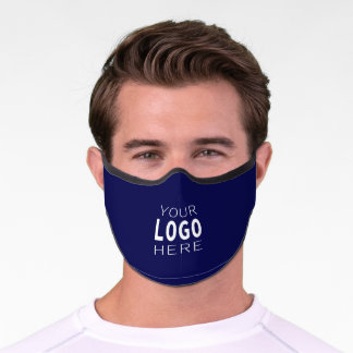 Your Logo | Simple Logo Replacement/Navy Blue Premium Face Mask