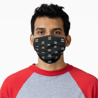Your Logo Simple Repeating Logo | Black Adult Cloth Face Mask