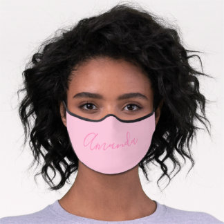 Your Name | Elegant Pink Script on Light Pink Premium Face Mask