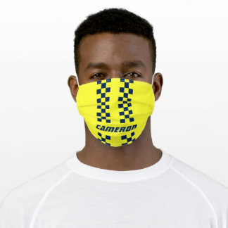 Your Name Fully Custom Colors Checkered Stripes Adult Cloth Face Mask