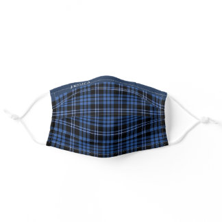 Your Name On Blue Tartan Plaid Checked Pattern Adult Cloth Face Mask