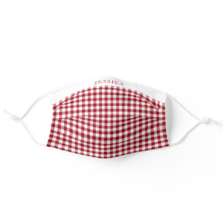 Your Name On Red & White Checked Gingham Pattern Adult Cloth Face Mask