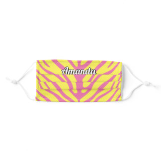 Your Name Pink Yellow Zebra Stripe Adult Cloth Face Mask