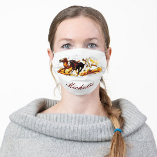 Your Name Running Horses Adult Cloth Face Mask