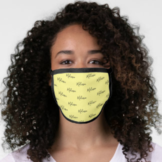 Your Name Typography Black & Yellow 2 Poly Face Mask