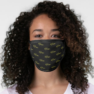 Your Name Typography Black & Yellow Poly Face Mask