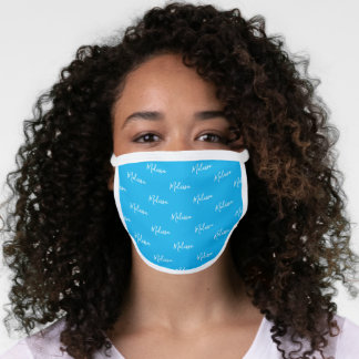 Your Name Typography Blue & White Poly Face Mask
