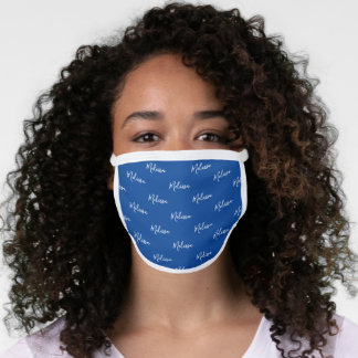 Your Name Typography Dark Blue & White Poly Face Mask