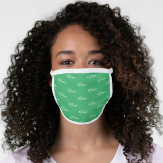 Your Name Typography Green & White Poly Face Mask