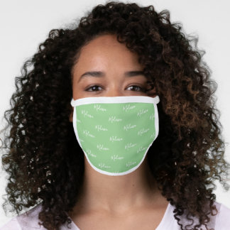 Your Name Typography Mint Green & White Poly Face Mask