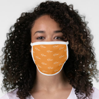 Your Name Typography Orange & White Poly Face Mask