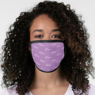 Your Name Typography Purple & White Poly Face Mask