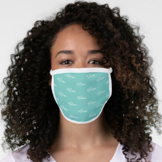 Your Name Typography Teal Blue & White Poly Face Mask