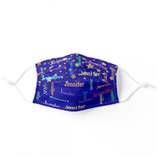 Your Name Will Repeat Stars On Blue Monogram Adult Cloth Face Mask