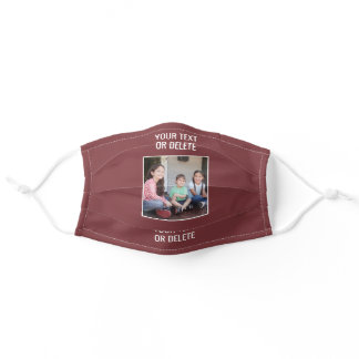 Your Photo & Text Burgundy Red White Modern Cute Adult Cloth Face Mask